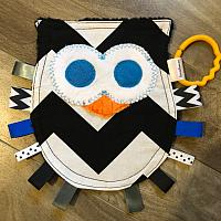 Crinkle--Owl Black Chevron