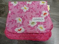 Burpie--Pink & White Floral on Fushia minky
