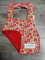 Bib--Apples on Red minky