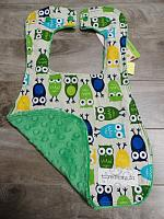 Bib--Boy Owls on Kelly minky
