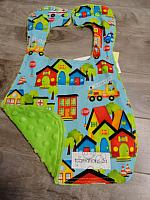 Bib--Be My Hero Village on Lime minky