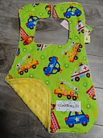 Bib--Be My Hero on Yellow minky