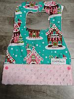 MBib--Gingerbread Houses on Blush minky