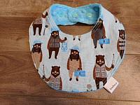 Droolie--Brawny Bears on Turquoise minky