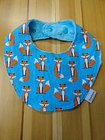 Droolie--Fabulous Foxes on Turquoise minky
