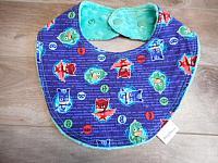 Droolie--PJ Masks Tossed on Seafoam minky