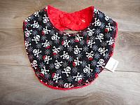 Droolie--Pirate Skulls with Bandanas on Red minky