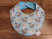 Droolie--Grey & White Foxes on Turquoise minky