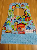 MBib--Be My Hero Village on Turquoise minky