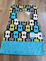 MBib--Groovy Guitars on Teal minky
