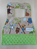 MBib--Hooty Hoot on Jade minky