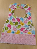 MBib--Spring Birds on Blush minky
