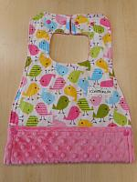 MBib--Spring Birds on Paris Pink minky