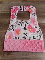 MBib--Watercolour Floral on Paris Pink minky