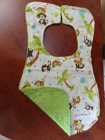 Bib--Monkeying Around on Jade minky