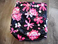 PKT--Pink Floral on Black