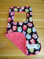 Bib--Snooze Owls on Fushia Minky