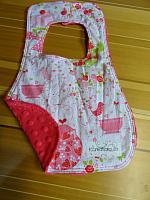Bib--Strawberry Tea 2 on Watermelon Minky