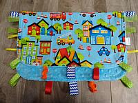 Blankie--Be My Hero Village with Turquoise minky