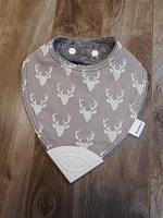 BTeether--Grey Bucks on Charcoal minky with White corner
