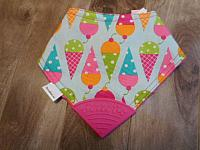 BTeether--Ice Cream Cones on Fushia minky with Raspberry corner