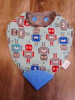 BTeether--Tossed Robots on Charcoal minky with Dk Blue corner