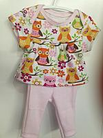 LVB--Cute Owls top & pink leggings set *